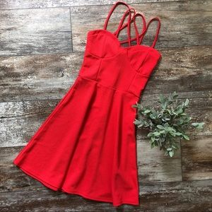 JustFab | Fit and Flare Coral Strappy Dress